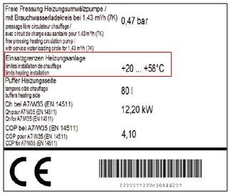 Informační štítek na tepelném čerpadle